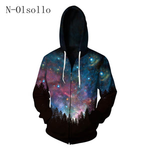 N-olsollo 2017 New Fashion Women/Mens Hoodie Sweatshirts Zip-up Jacket Sweats Harajuku Galaxy Printed Long-Sleeve Soft Tracksuit