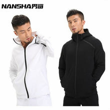 NANSHA Brand Mens Hoodies Fitness Long Sleeve Bodybulding Zipper Sweatshirts Gyms Muscle Fit Clothes Hooded Jackets
