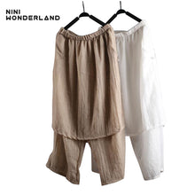 NINI WONDERLAND New 2018 summer Women cotton loose wide leg casual pants Elastic waist solid color casual pants Female Trousers