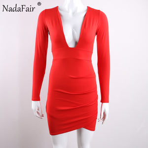 Nadafair Deep V Neck Backless Skinny Full Sleeve Mini Sexy Bodycon Party Club Dresses Red Black