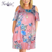 Nemidor Women Casual O-neck Off The Shoulder Midi Plus Size Summer Dress Short Sleeve Loose Vintage Dress With Pockets 1