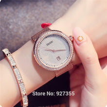 New 2018 GUOU Dress Women Watches Stylish Sky Bule Crystal Rhinestones Quartz Wristwatch Lady  Bracelet  Relogio Casual Watch