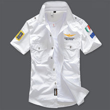 New 6XL Military Men's Short Sleeve Shirts Summer Fashion Embroidered High Quality Cotton Air Force One MA1 Casual Shirt AE12002