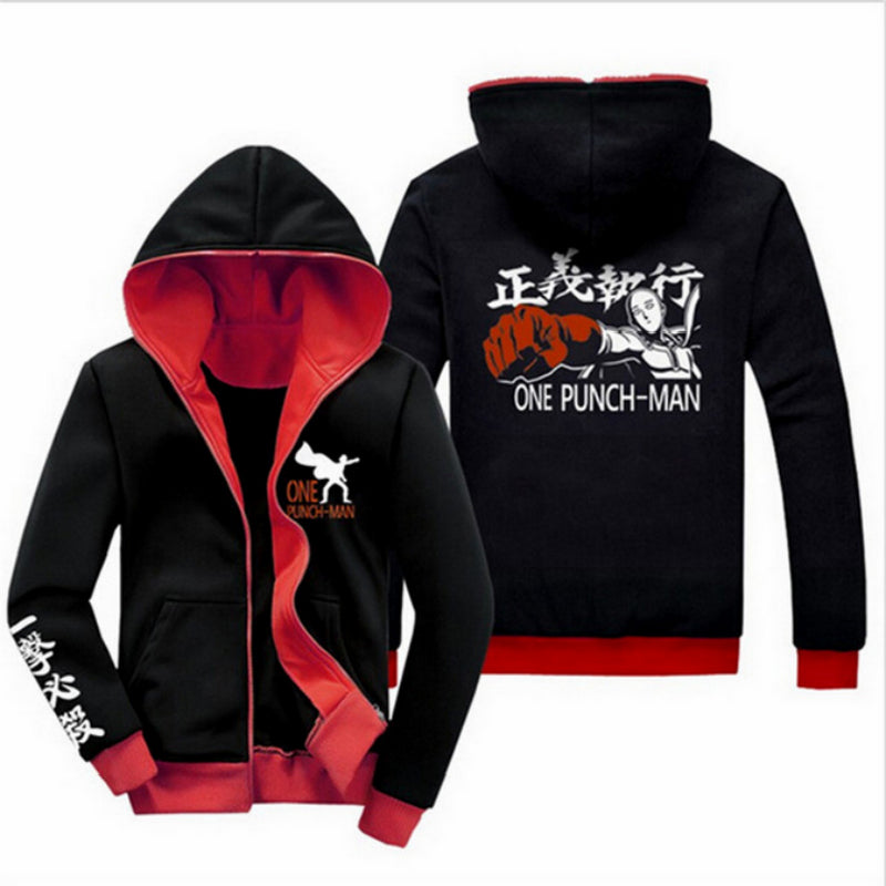 New Arrive Anime ONE PUNCH MAN hoodie Oppai Casual Black Jacket Long Sleeve Sweatshirt Men and Women Unisex Hoodie Coat