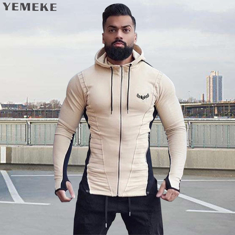 New Gyms Fashion Men Hoodies Line color Patchwork Quality Men Sweatshirt Hoodie Casual Zipper Hooded Jackets