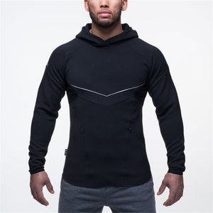 New Men Casual Fashion Hoodies Sweatshirt male gyms fitness Hooded jacket Cotton black sportswear Man Brand pullover clothing