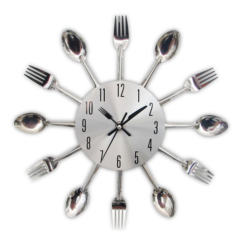New Modern Kitchen Wall Clock Sliver Cutlery Clocks Spoon Fork Creative Wall Stickers Mechanism Design Home Decor Horloge