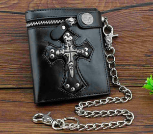 New Rock Punk Skulls Cross Money Men's Black Leather Wallet With A Chain Cool