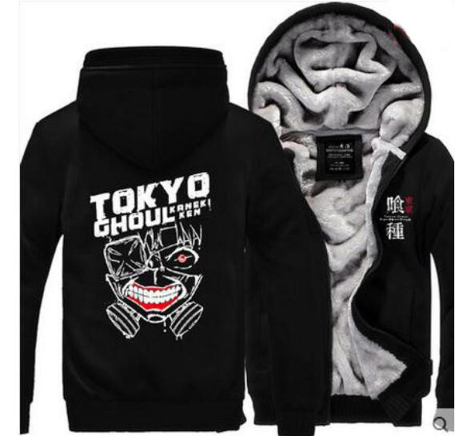 New Style Winter Casual Tokyo ghoul Hoodie Anime Ken Kaneki Mask Thick Coat hoody Sweatshirt brand fleece men long sleeve Jacket