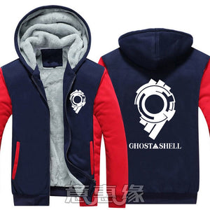 New Winter Jackets and Coats Ghost In The Shell  hoodie Anime kusanagi motoko Hooded Thick Zipper Men Sweatshirts 1