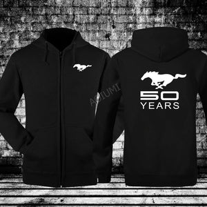 New men Hoodies coats Fashion ford mustang 50 years Sweatshirts Tracksuits male hoodies Winter Hooded Jacket