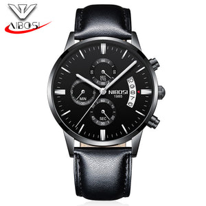 Nibosi Watches Men Clock Man Full Steel Black Cassic Chronograph Quartz Clock Man Gold Mens Watches Top Brand Luxury Men Watch