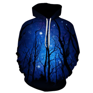 Night Tree Printed Sweatshirts Men Women Pullover Funny Tracksuits 3D Autumn Winter Hoodies Male Hooded Pocket Jackets Brand