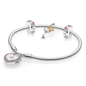 Original 925 Sterling Silver Lock Your Promise Snake Chain Pandora Bracelet Bangle Fit Women Bead Charm Europe Jewelry