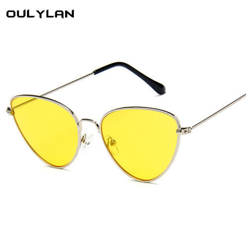 Oulylan Women Sunglasses Cat Eye Brand Designer Sun glasses Female Yellow Red Lens Spectacles Metal Frame Glasses UV400
