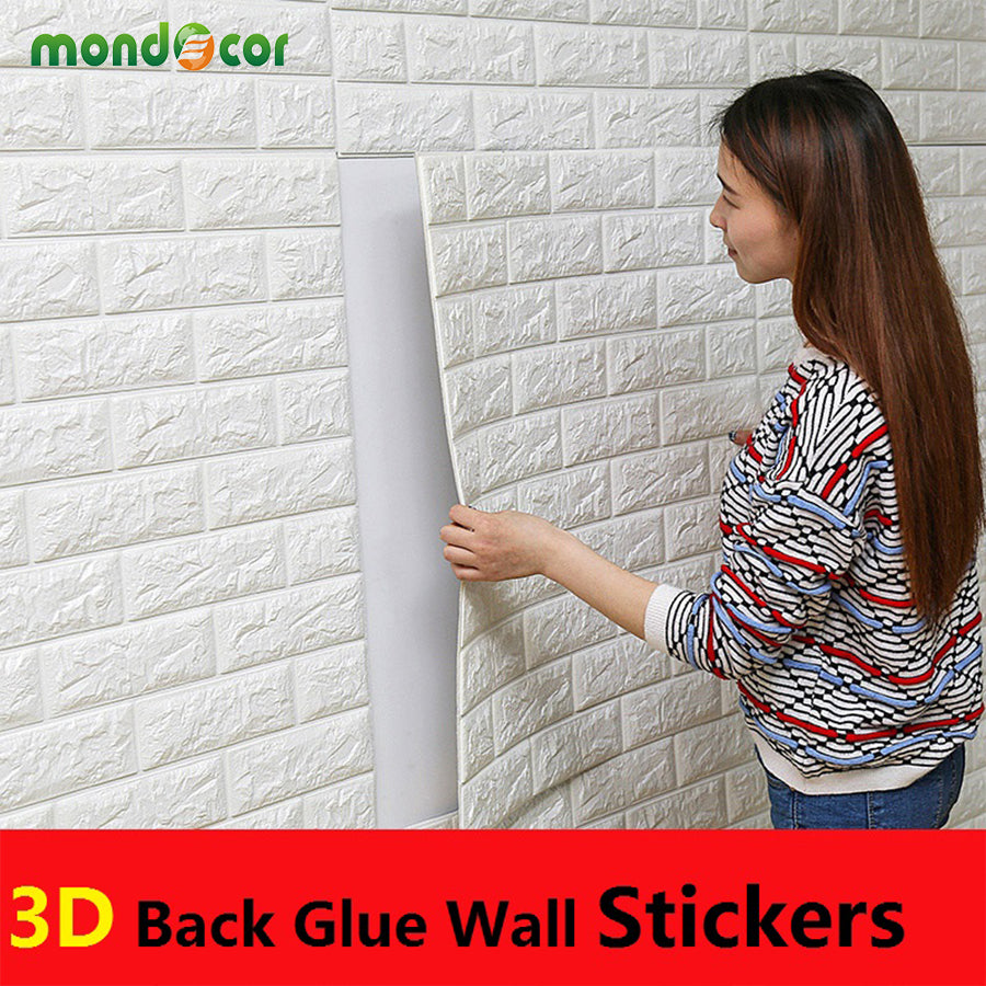 Wall Stickers Mondo.Pe Foam 3d Wall Stickers Brick Pattern Waterproof Self Adhesive Wallpaper Room Home Decor For Kids Bedroom Living Room Stickers