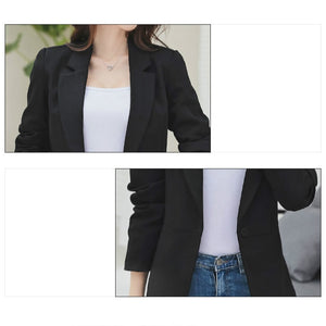PEONFLY Ladies Blazer 2018 Long Sleeve Blaser Women Suit jacket Female Feminine Blazer Femme Black Blazer