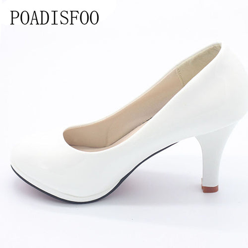 POADISFOO Shoes Women 2017 New  3 Color Black White Red Color PU Thin Heels Pumps Profession Pumps Women Shoes.DFGD-8807