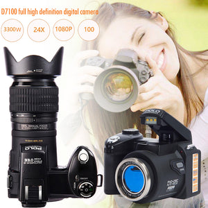 PROTAX D7100 Digital Camera 33MP FHD DSLR Half-Professional 24x Telephoto & Wide Angle Lens sets 8X Digital zoom Cameras Focus