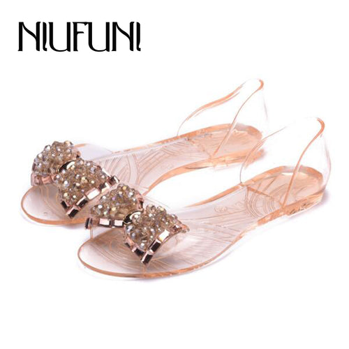 PVC Summer Transparent Women's Sandals New Arrival Comfortable BowNot Flats Shoes For Woman Cover Heel Slip On Jelly Shoes