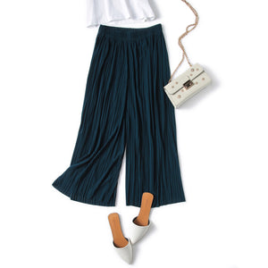 Pant Pleated chiffon wide leg pants female summer 2018 new Korean version of nine high waist loose loose mm pants