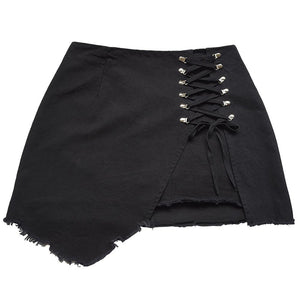 Pantalon Sequined Tie Side Open Women Denim Skirt High Waist Fringe Black White Denim Jean Skirts Women 90s Spodnica ropa mujer