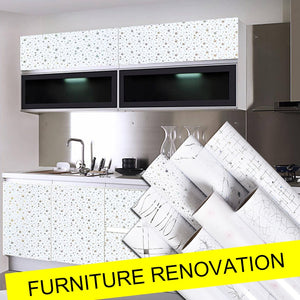 Pearl White DIY Decorative Film PVC Self adhesive Wall paper Furniture Renovation Stickers Kitchen Cabinet Waterproof Wallpaper 1