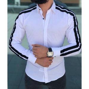 Plain Men Formal Shirts Business Dress Wedding Long Sleeve Slim Fit Top Patchwork HOT
