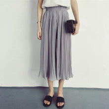 Pleated Solid Simple All Match Chiffon Elastic Street Hot Skinny A-line Summer 2018 Wide Leg Calf-length Pants