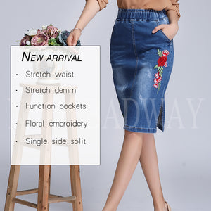 Plus Size Stretch Waist Floral Embroidered Denim Skirts Women 2018 Spring Summer Short Pencil Jeans Skirt Saias Casual Fashion