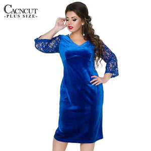 Plus Size Women Dress Patchwork Velvet Autumn Big Size Women Lace Party Dress Office Female Large Size 2018 tunic dresses V-neck