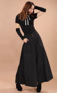 Plus size summer Women Wide Leg Dress Pants vintage Female Casual solid Skirt Trousers Loose 50s Capris Culottes Pocket ZY3365