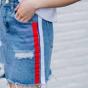 QoerliN Plus Size Jeans Mini Skirts High Waist Holes Hollow Out Sexy Side Striped Pocket Beach Denim Skirt Female 2018 Summer