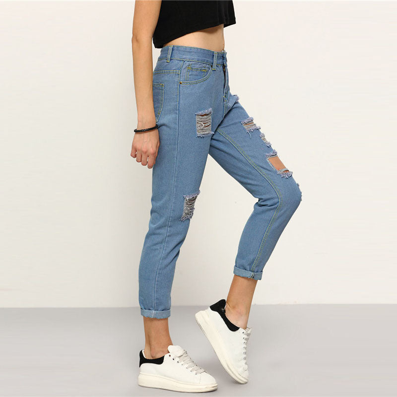 ROMWE Ripped Straight Leg Jeans 2018 New Arrival Button Fly Mid Waist Casual Jeans Spring Denim Women Trousers