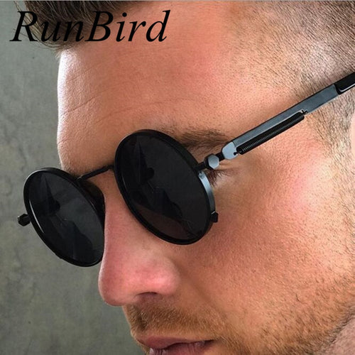 RunBird Round Retro Steampunk Men Women Sunglasses Metal Vintage Sun Glasses Brand Designer Men's  Male Lentes UV400 460R