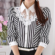 S-4XL Lace Women Blouses 2018 New Long Sleeve Striped Blusas Shirt Casual Fashion Work Office Shirts Women Tops Plus Size GV501