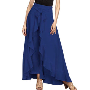 SCHMICKER 2018 Summer Elegant Lace-up Bow Tie Ruffled Work Office Wide Leg Pantalons Women Solid Elastic Waist Long Skirt Pants