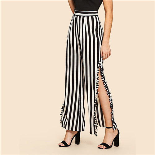 SHEIN Black and White Casual Frilled Split Side Vertical Stripe Wide Leg High Waist Loose Pants Summer Women Elegant Trousers