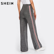 SHEIN Mid Waist Striped Tape Side Glitter Pants Grey Wide Leg Pants for Woman Fall Elastic Waist Casual Trousers