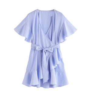 SHEIN Women Dress Summer 2017 Frill Detail Surplice Wrap Striped Dress Ladies Deep V Neck Short Sleeve A Line Dress