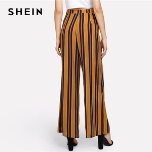SHEIN Zip Up Wide Leg Striped Pants Women Fashion New Clothing Mid Waist Loose Trousers 2018 Female Elegant Full Length Pants