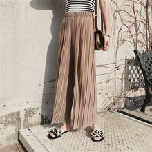 SHENGPALAE 2018 Autumn Summer New Fahion Tide Black Casualo Loose Elastic Waist High Pleated Wideleg Pants Women Pants N450