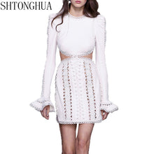 SHTONGHUA Runway spring Women Dress 2019 Designer Hollow Out Embroidery Long Sleeve Lady O neck Flare Sleeve Party Dress