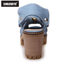 SIMLOVEYO The new style of denim with fish mouth women sandals high heels women's zipper large size non slip shoes QL1139