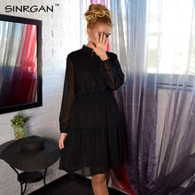 SINRGAN Black lace up hollow out mini dress women vestidos Long sleeve elastic waist sexy party christmas dresses summer dress