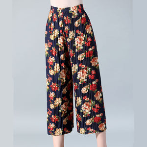SNOW PINNACLE 2018 New Summer womens Wide leg pants Chiffon Thin Pleasted Printed Floral high waist trourses plus size XL-4XL