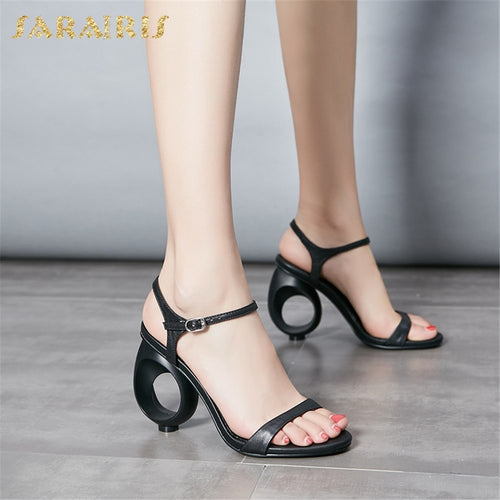 Sarairis 2019 New Arrivals Genuine Leather Buckle Strap Summer Sandals Women Shoes Woman Strange Style Peep Toe Hot Shoes Woman