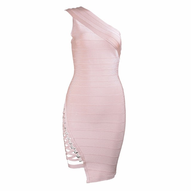 Seamyla New Arrival Celebrity Party Dresses Women One Shoulder Sequined Sexy Summer Dress 2018 Sleeveless Bodycon Bandage Dress