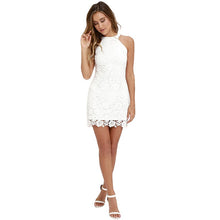 Sexy Club Yellow Lace Dress Halter Crochet Evening Party Vestido De Festa Bodycon Women White Summer Dresses 2017 Plus Size Robe