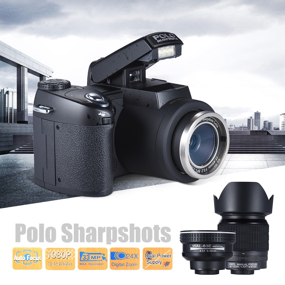 Sharpshots Auto Focus Digital Camera 33MP 1080P 30fps FHD 8X w/ Standard + 0.5X Wide Angle +24X Telephoto Long Lens Video Camera